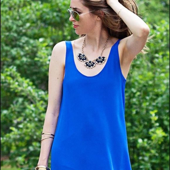 70% off j. crew dresses & skirts - j. crew blue silk maxi dress