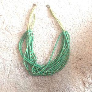 Green Wooden Statement Necklace