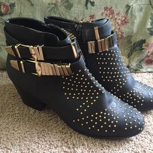 Black Heeled Studded Booties