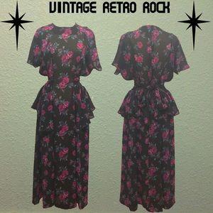 Vintage 80s Does 40s Decades Sheer Peplum Dress