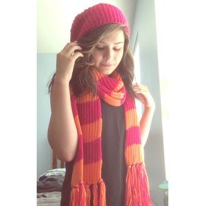 Kohls Accessories - Hot pink and orange scarf