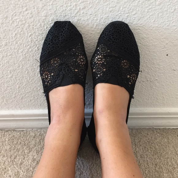 black lace slip on shoes