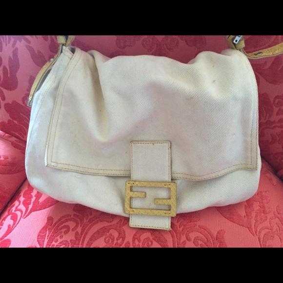 8cca87d11db1 FENDI Handbags - AUTHENTIC Fendi White Denim Bag w Yellow Snakeskin