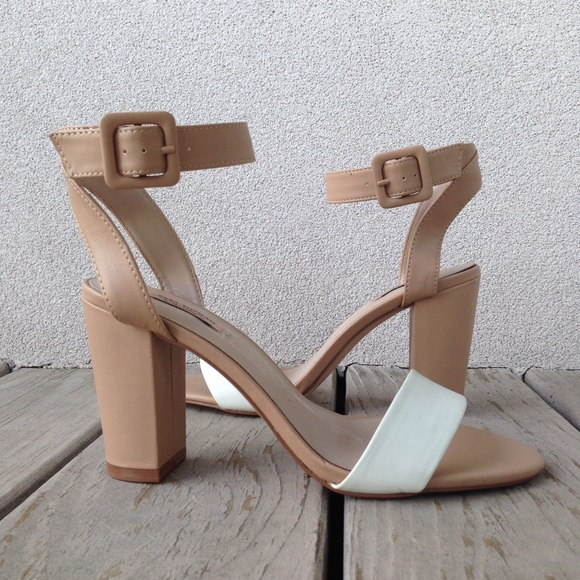 50% off Zara Shoes - Zara Nude Mid-heel Ankle Strap Sandals from ...