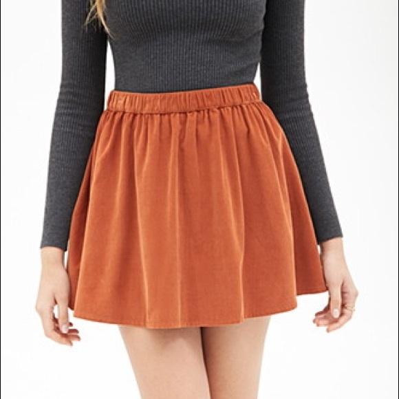 ce02d46b94c6 Forever 21 Skirts | Burnt Orange Corduroy Skirt | Poshmark