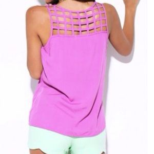 Tops - Purple Cut Out Shirt /