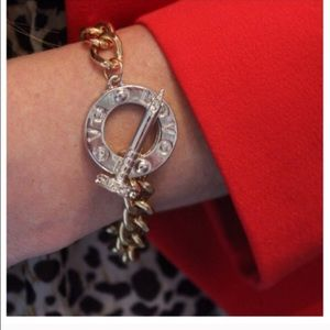 Gold and silver love bracelet