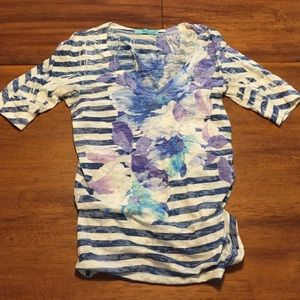 Navy Floral and Striped V Neck Tee