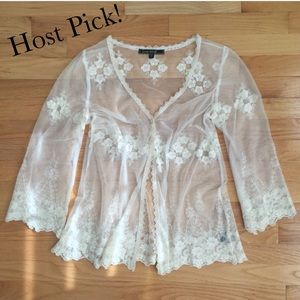 Love Stitch Tops - 🎉HP🎉 Sheer Lace Cardigan NWOT