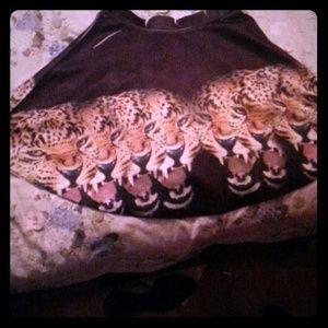 Brown tiger circle skirt
