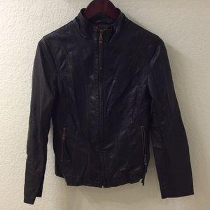 Faux Leather Moto Jacket, Size S