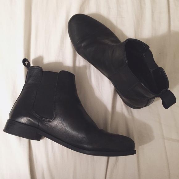 Topshop Black Leather Chelsea Boots
