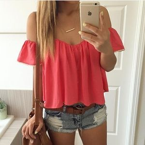 Tops - Off the shoulder top coral