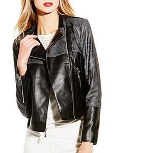 Vince Camuto Faux Leather Mixed Media Jacket