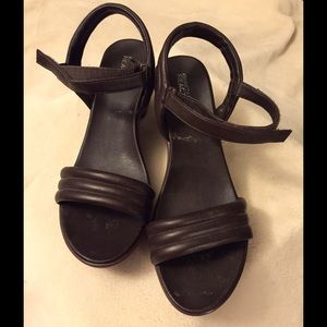 Kenneth Cole Brown Leather Wedge Sandal
