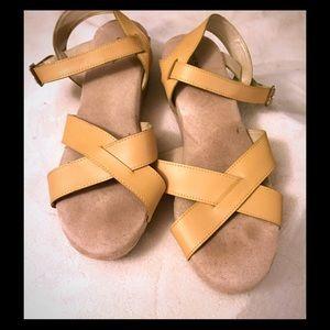 Shoes - Tan, Criss Cross Low Platform Sandal