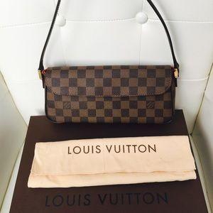 Authentic Louis Vuitton Damier Ebene Canvas Clutch