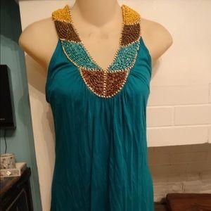 Antik Batik Tops - TEAL BOHO GYPSY DRESSY BEADED FESTIVAL TOP