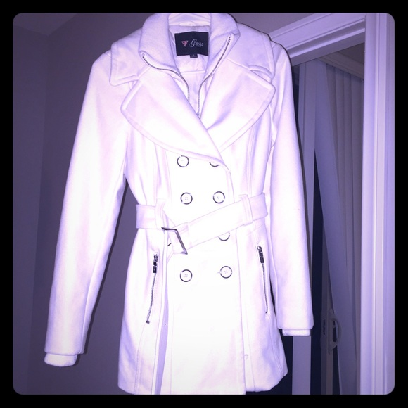 44% off Guess Jackets & Blazers - Guess white pea coat from ...