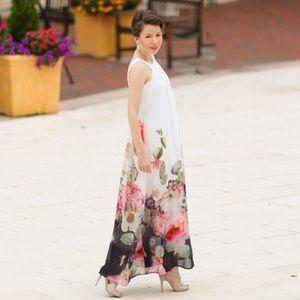 Floral printed shift maxi dress