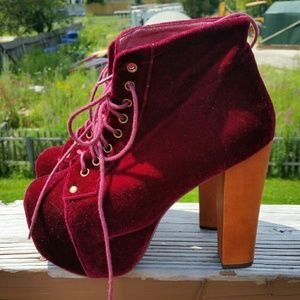 Jeffrey Campbell Shoes - Oxblood Red Velvet Litas