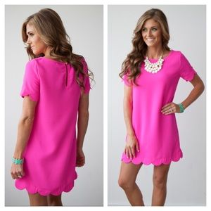 ❗️JUST IN❗️ Hot Pink Scalloped Trim Mini Dress