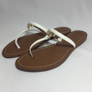 TORY BURCH T LOGO FLAT THONG SANDALS – SZ 8.5