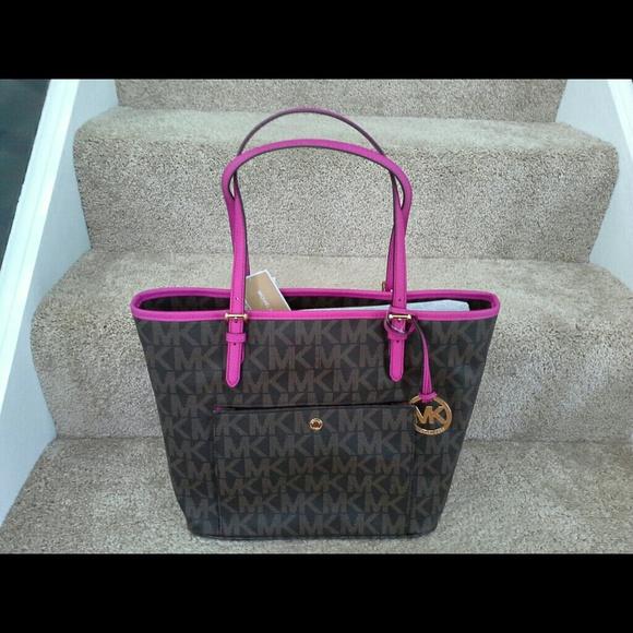 ffc0e3f466b4 884d5 97c75  coupon for michael kors brown fushia snap pocket tote dillards  clearance handbags cd667 5dc45