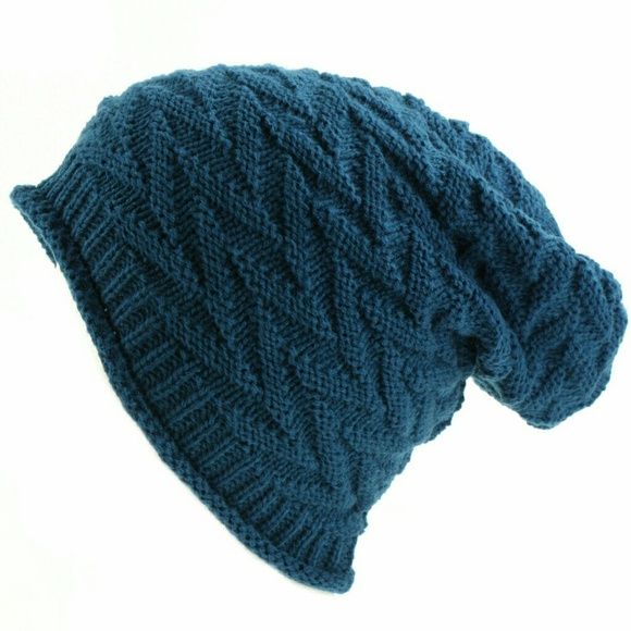 6dc85972ae5 NWT zigzag knit slouch beanie hat Teal