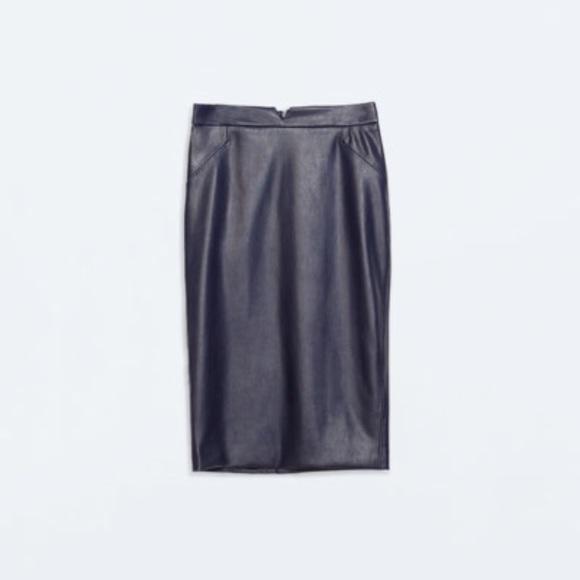 zara zara navy blue faux leather pencil skirt from inda