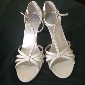 Hillard and Hanson Shoes - T strap white sandals