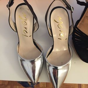 Silver cap heels
