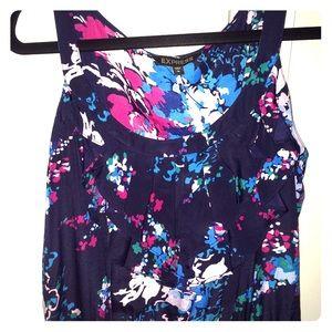 Express Navy Blue& Pink Floral Print Dress Large