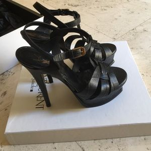 yves saint laurent shoes  ysl tribute black croc leather
