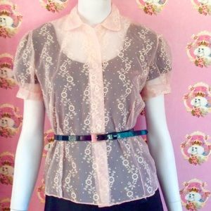 Authentic Vintage  50's Sheer Pink floral blouse
