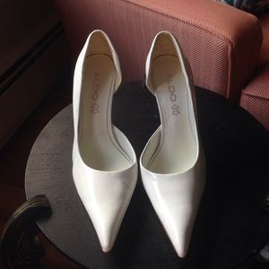 White pointed toed heels