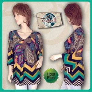 ONE WORLD Tops - ONE WORLD Multicolored 3/4 Sleeve Tunic Lk new S-M