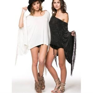 "Bare Anthology Tops - ""Artemis"" Fringed Poncho Top"