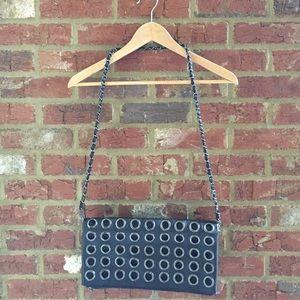 Black grungy handbag
