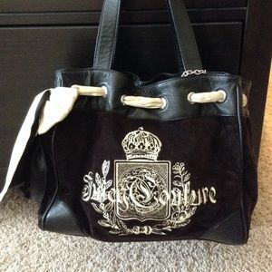 Juicy daydreamer black velour purse