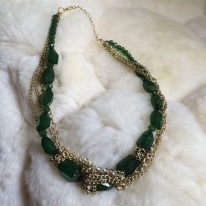 Green gold rhinestone necklace
