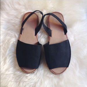 Shoes - Black Sling Back Sandals
