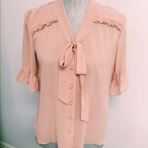 Peach chiffon bow tie blouse
