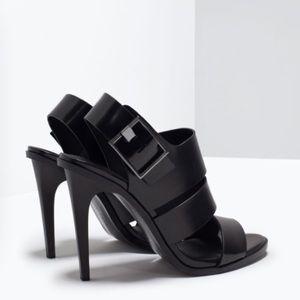 Zara Black Triple Strap Heels