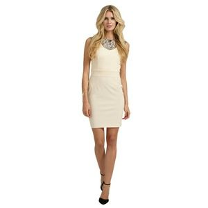 Little Mistress Dresses & Skirts - Cream embellished bodycon dress