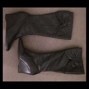 Nine West Boots - NINE WEST Wedge Leather Bow Boots