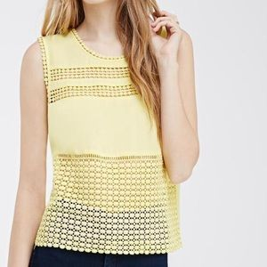 Tops - Crochet trimmed top (S,M,L) white or yellow
