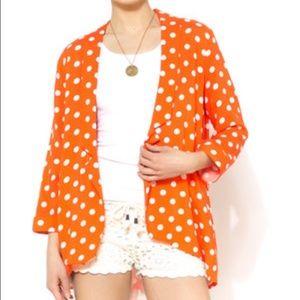MINKPINK Jackets & Blazers - Mink Pink Polka Dot Orange Blazer
