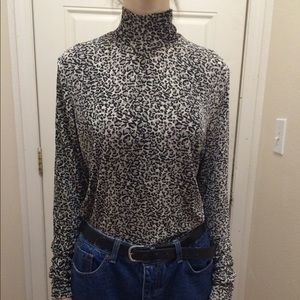 vintage leopard print high neck top