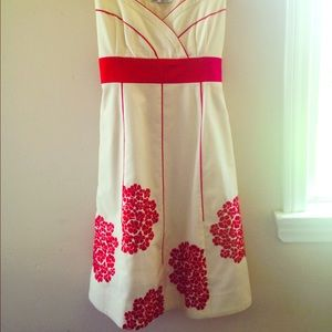 Red Flower and Cream Anthropologie Dress